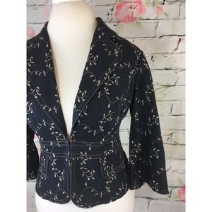 Adrianna Papell Denim Vine Embroidered Blazer